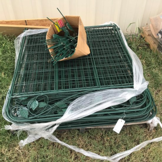 Pallet of Green Metal Temporary Fencing