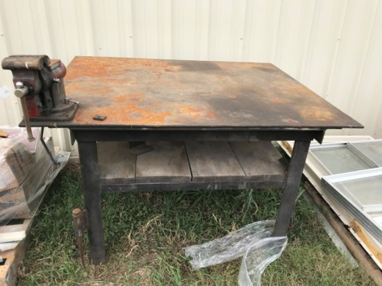 Shop Table with Vice