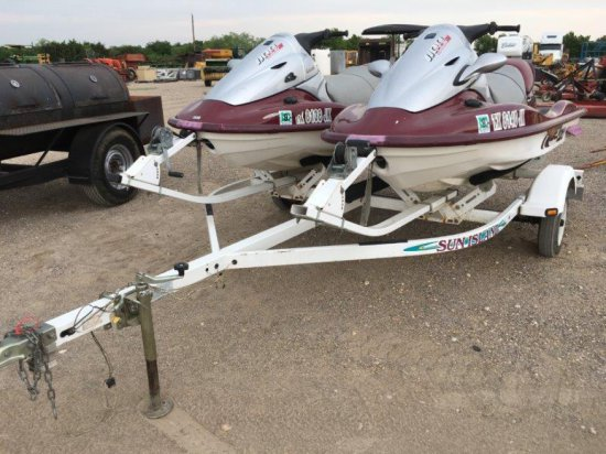 2 Kawasaki Jet Skis and Sun Island Trailer
