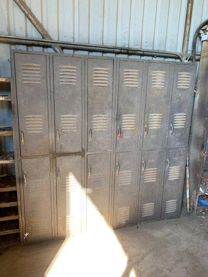 Single Section of Lockers w/File Cabinets & Shelf