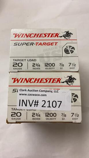 50rds Winchester 20ga Super Target 7 1/2 Shot