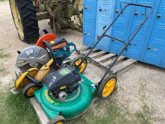 """Pallet w/4 Saws & Weed Eater 22"""" Lawn Mower"""