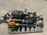 Pallet w/3-Weedeaters 1-leaf blower & 4 chain saws