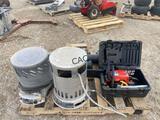 Propane Heater, Homelite Chainsaw, Blower, Battery