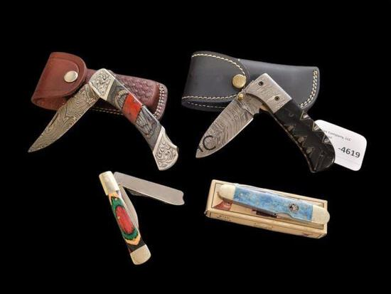 Lot of 4 Pocket Knives with Cases