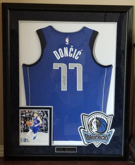 Luca Doncic Signed & Framed Mavericks Jersey