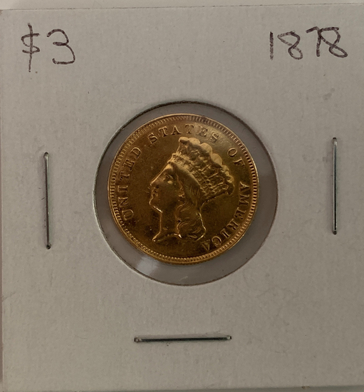 1878  Liberty Head $3 gold piece