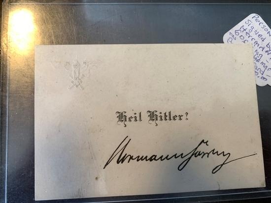 Herman Goering signature on calling card