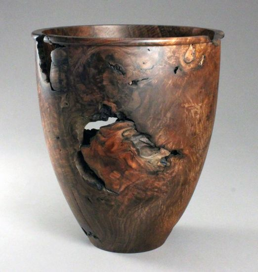 Walnut burl vase