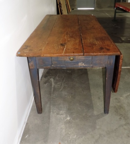 Antique Country Farm Table with Dropleaf and Drawer