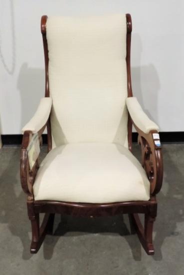 Antique 1870's Upholstered Cherry Rocker