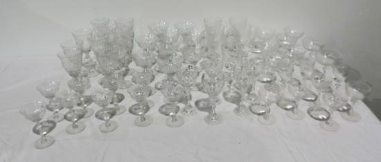 55 Pieces of Antique Crystal Stemware