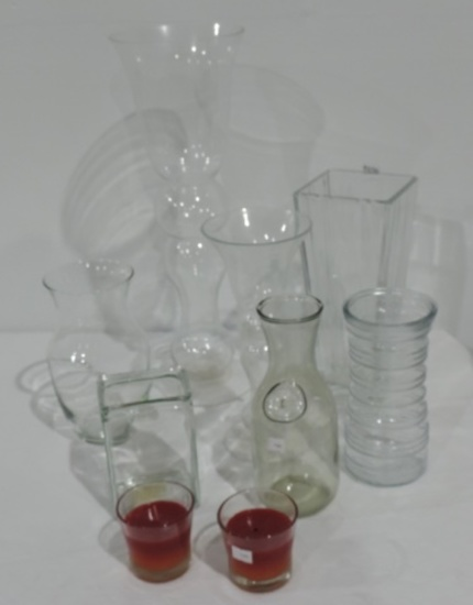 Lot of 9 Crystal and Glass Vases