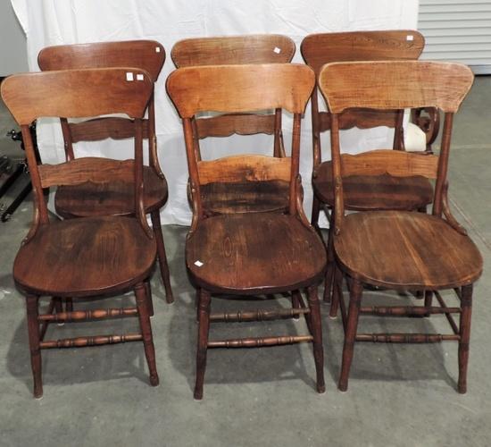Set of 6 Antique Oak Chairs