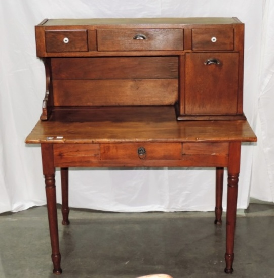 Antique Oak Table with Hutch Top