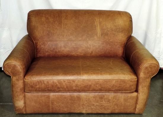 Light Brown Leather Sleeper/loveseat