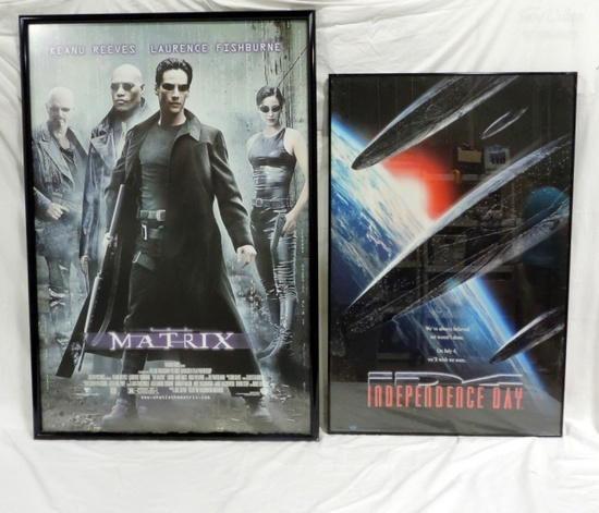 2 Framed Movie Posters Matrix And Independence Day
