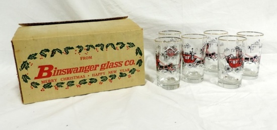 Binswanger Glass Co Set Of 6 Glasses In Original Box