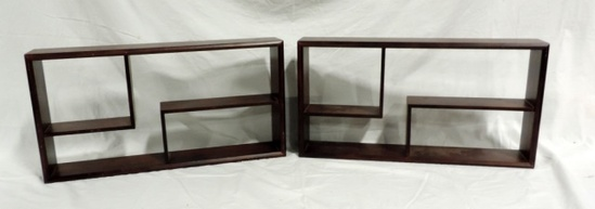 2 Wood Wall Shelf Organizers