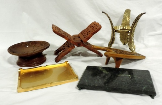 Collection Of Wood Stands And A Boot Jack
