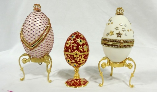 Collectible Musical Hand Decorated Egg Boxes Plus Brass Egg Box