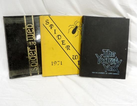 (2) Concord Spider Web Yearbooks And 1975 Yackety Yack