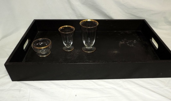 (23) Piece Set Of Gold Decorated Crystal And Mahogany Serving Tray