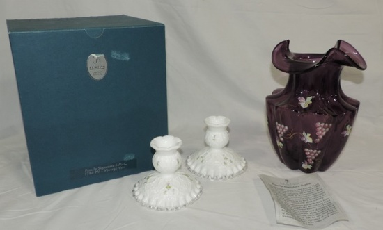 Fenton Glass Vase And Candleholders Lot