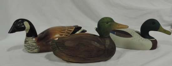 (3) Wood Hand Painted Duck Decoys