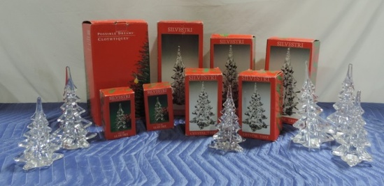 (14) Silvestri Crystal Trees With Some In Boxes