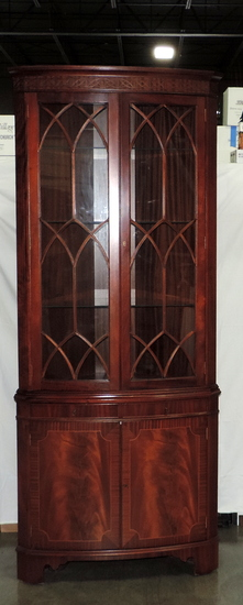 Federal Style Mahogany 2 Piece Corner Cabinet