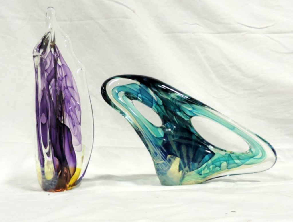 Lot Of 2 Murano Signed Art Glass Abstract Figurines