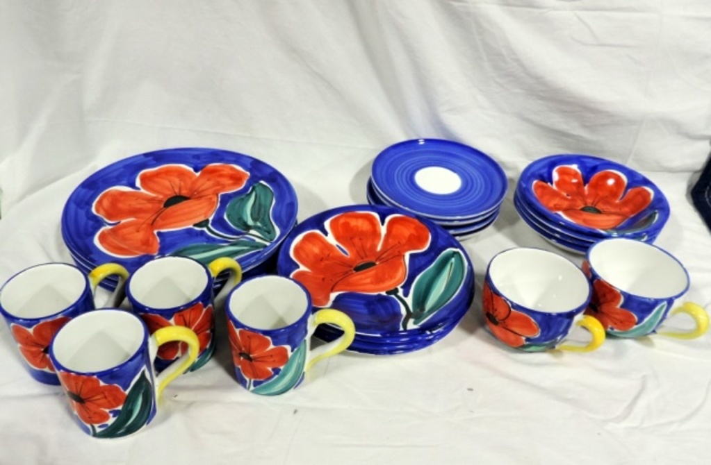 20 Piece Colorful Italian China Set