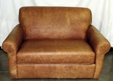 Light Brown Leather Sleeper/loveseat