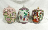 Lot Of 3 Hand Painted Oriental Ginger Jars