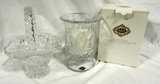 Shannon Crystal Vase In Box And Crystal Glass Basket