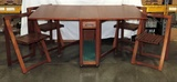 Vintage Wood Folding Table With Folding Chairs