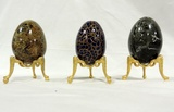 3 Eggs On Brass Stands