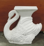 White Plaster Figure Of A Swan Plant Stand