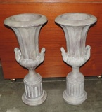 Pair Of Composition Stone Flower Urns With Bases