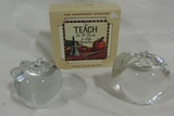 (2) Crystal Apple Paperweights And Teacher Coasters