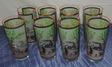 (8) Express Train Riverboat Cold Painted Drink Glasses
