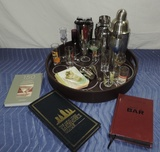 22 Piece Bar Tray Lot With Glasses And Drink Mixers