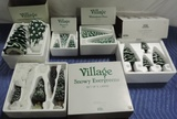 (5) Boxes Dept 56 Village Pine Trees Some Light Up