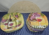 Merrit Melamine Wine Designed Dish Set With Wine Wall Plaque