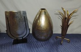 (3) Piece Designer Vases Glass & Metal