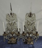 Pair Brass Crystal Candelabras On Marble Base