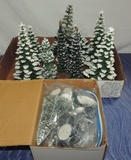 Lot Of Department 56 Frosted Topiary Trees