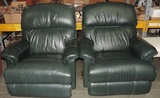 Pair Of Lazy Boy Green Leather Recliners