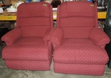 Pair Of Burgundy Cloth Lazy Boy Recliners